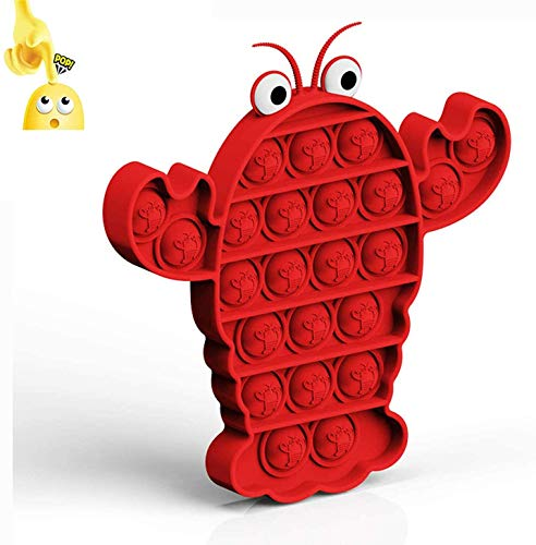 Strike Edge Pure Compression Silicone Push Pop Bubble Animal Fidget Sensory Toy - Stress Reliever Extrusion Bubble Game Educational STEM Playing Board - Anxiety Relief Toys for Kids Adults (Lobster)