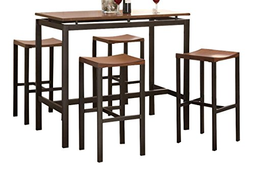 Atlus 5-piece Counter Height Dining Set Black and Brown