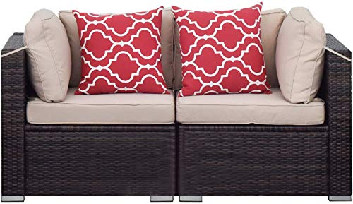 Aclumsy 2 PCS Patio Outdoor Wicker Armchair Sofa Chair Set, Patio Rattan Single Patio Seating w/Removable Cushions, Sectional Sofa Set Additional Seats for Balcony Patio Garden Poolside,Brown