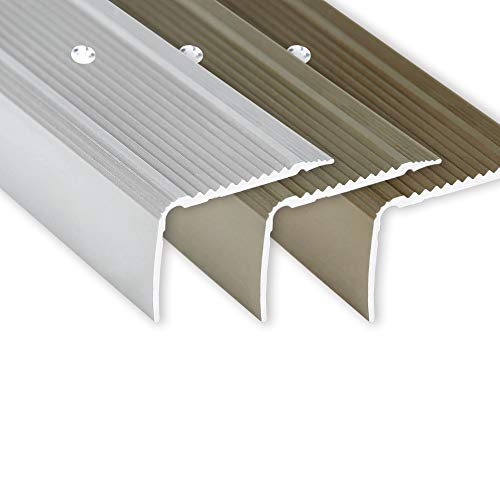 Toolerando Treppenkantenprofil - 134 cm L-Form, 30 x 20 mm, Schraubmontage, silber