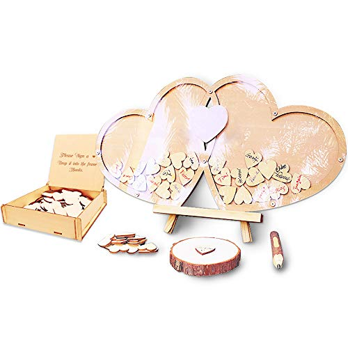 Neamon Libro de visitas de boda personalizado decoración de boda libro de visitas de madera fiesta Dropbox