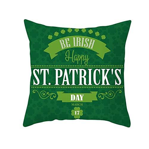 Funda de almohada de 55,8 x 55,8 cm, funda de cojín de trébol de trébol de trébol de feliz decoración del día de San Patricio para el hogar, festival, fiesta irlandesa #306