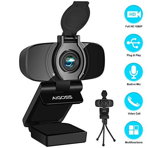 Aigoss Webcam Full HD 1080P mit Mikrofon und PC-Kamera Privacy Cover USB 2.0 Plug & Play für Laptop, Computer, PC, mit Stativ, für YouTube, Skype Online Study, Videoanrufe, Live-Streaming-Konferenzen