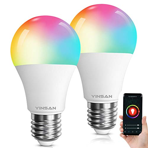 YINSAN Smart LED Lampe, WLAN 2er Pack Mehrfarbige Leuchtmittel Dimmbare 8.5W E27 Wifi LED RGBW Birne Kompatibel mit Amazon Alexa, Google Home, für Haus Dekoration, Bar, Party, Bühne, Bettlampe