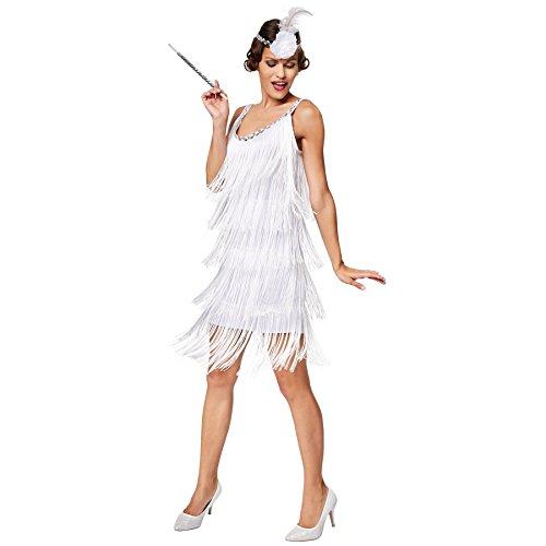 dressforfun Costume da donna Charleston Diva   Eccitante costume e un sogno di colore bianco   Fascia per capelli con fiore finto e piuma (S   No. 301585)