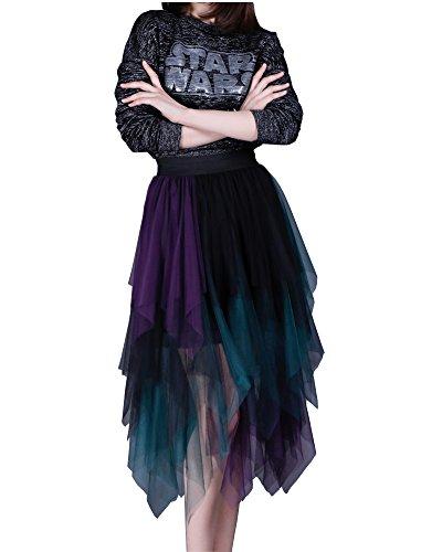 EORISH Women's Elastic Waist Colorful Irregular Tulle Pleated Ball Skirt (Purple)