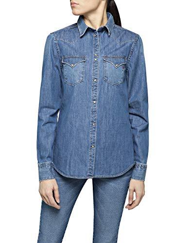Replay Damen W2280 .000.26C 518 Hemd, Blau (Medium Blue 9), Small (Herstellergröße: S)