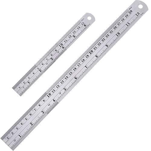 2パックストレート定規、ステンレス鋼6および12インチ(15および30cm)測定定規ツール