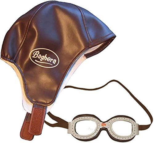 Baghera Fliegerbrille und Fliegermütze für Kinder | Pilotenmütze und Pilotenbrille Vintage Look für Kinder ab 3 Jahren | Retro Fliegerbrille und Fliegerkappe Set für Kinder
