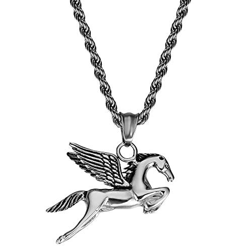 La moda retro vintage Pegasus animal de los hombres de acero de titanio anillo de punk de la personalidad del zodiaco caballo collar
