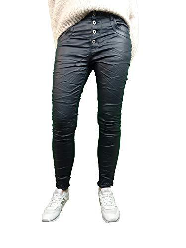Jewelly Damen Stretch Fake Leather Kunstleder Hose Boyfriend Cut mit offener Knopfleiste (S, blau)