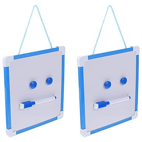 HEALLILY 2 Juegos de Pizarra Blanca Magnética de Borrado en Seco Pizarra Colgante con Rotuladores Imanes para Dormitorio de Pared Nevera Niños Cocina Lista de Comestibles Lista Azul
