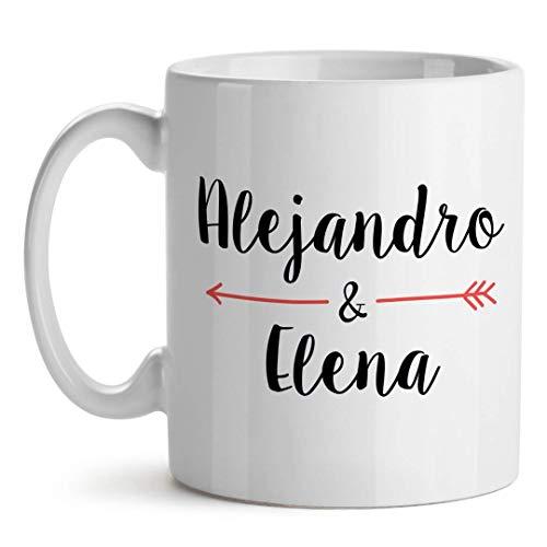 Taza Personalizada San Valentín Te Quiero Mucho Flecha (Nombres)