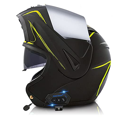 Sebasty Casco de Moto Modular Bluetooth Integrado con un Micrófono Incorporado ECE/Dot Homologado Cascos de motocrossVisera Doble Adultos Hombres Mujeres 8,S