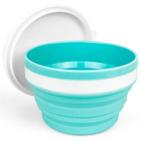 CARTINTS Collapsible Bowls-Silicone Food Storage Containers-Prep/Storage Bowls with Lids-Silicone Lunch Containers, Ideal for Travel and Camping, 32oz/950ml (Blue)