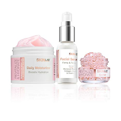 SKIN LAB BY BSL Revitalize and Hydrate Kit - Morocan Rose Oil and Coconut Water- Includes Moisturizer, Eye Gel, Facial Serum