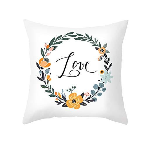 Peach skin pillowcase cartoon flower pattern sofa cushion cover office pillowcase square house sofa cover 45 x 45 cm
