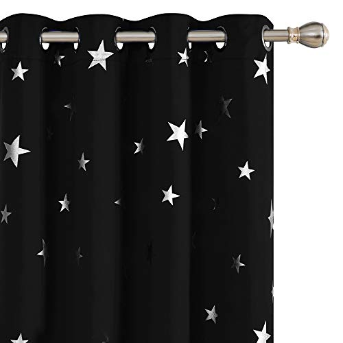 Deconovo Solid Thermal Insulated Blackout Curtains with Silver Star Pattern 52 x 95 Inch Black 2 Panels