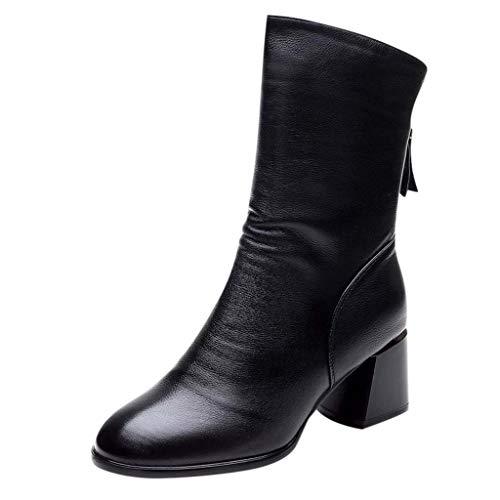 Stivali da Donna Tronchetto Donna Stivali Donna Stivaletti con Fibbia Posteriore con Fibbia alla Caviglia Stivaletti con Tacco Medio Quadrato Causale (37,Nero)