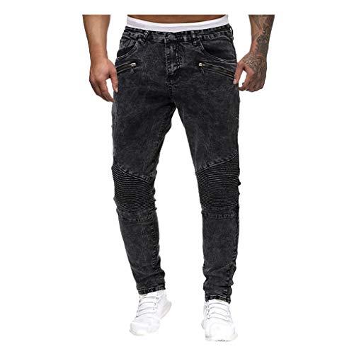 HEETEY Herrenmode Lässige Jeans mit Reißverschluss Lässig Vintage Elastic Wash Disstressed Denim Slim Hosen Jeans Distressed Jeanshose Denim Pants Freizeit-Hose Jogginghose