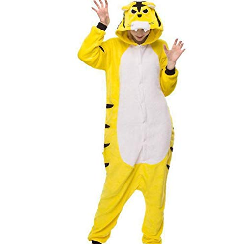 Unisex Pajamas Adult Animal Onesies Autumn and Winter Long-Sleeved Thick Cartoon Animal One-Piece Pajamas Yellow Tiger Flannel Couple Pajamas Home, Golden_flower, Tiger, m