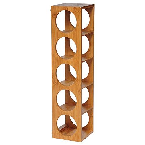 eSituro Botellero de Bambú Apilable Estante Vino Soporte para Botellas de Vino Sirve para 5 Botellas, Color Natural, 13.5 x 12 x 53 cm SBSS0014