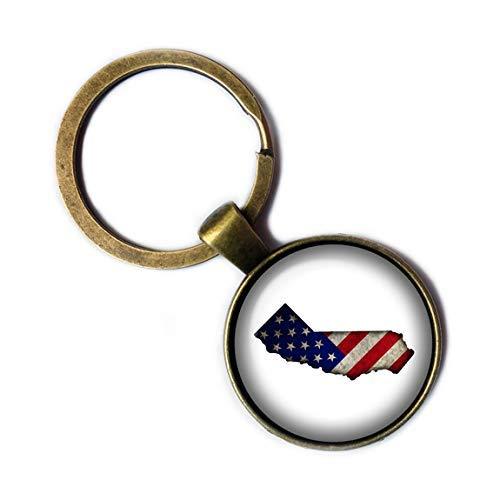 United States USA Flag Silhouette California CA Bronze Keychain Keyring