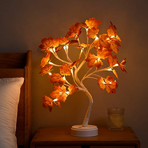 Byncceh 24LED MapleTree Lights- DIY Bonsai Tree Lights, USB/Battery poweredtouch Switch Warm Fairy Lights Tree lamp for ChristmasParty Home Decoration (Warm White Light)