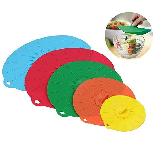 Zenyoumei Set di 5 coperchi in Silicone Set di 5 coperchi in Silicone Coperchi per Alimenti per Ciotole, pentole, padelle e padelle, Forno a microonde e Mantenere la Cucina Pulita e Fresca (Set 1)