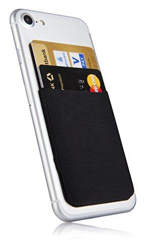 MyGadget Kartenhalter für Smartphones - RFID Blocking Haftendes Kartenfach, Kartenhülle, Karten Halterung - Geldbörse fürs Handy Etui Wallet in Schwarz