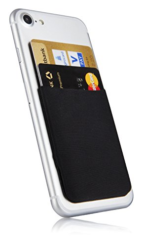 MyGadget Bolsillo Adhesivo para Funda Móvil - Portatarjetas de Crédito con Bloqueo RFID - Smartphone Card Holder - Estuche Porta Tarjetas - Negro