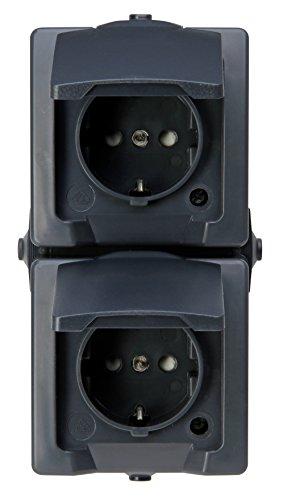 Kopp Nautic 2-Fach Schutzkontaktsteckdose, mit Klappdeckel und erhöhtem Berührungsschutz, Aufputz, für Feuchtraum, 250V (10A), IP44, senkrechte Montage, anthrazit, 136915009