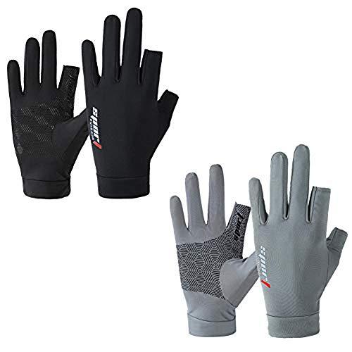 YWXJY 2 Paare Fingerlose Handschutzhandschuhe von Sun UV-Virus Männer Frauen Anti-Rutsch-Fahrradhandschuhe Touchscreen, Dünne Eisseide Sommer Motorradhandschuhe Fitnessübung-Männer_Fünf fingerlos
