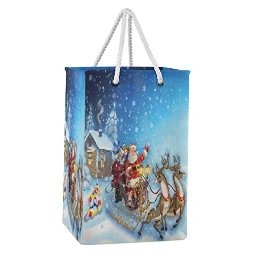 HMZXZ 75L Merry Christmas Reindeer Santa Claus Laundry Hamper Collapsible Large Clothes Nylon Fabric Laundry Basket Bag with Extended Cotton Handles for Clothes Toys