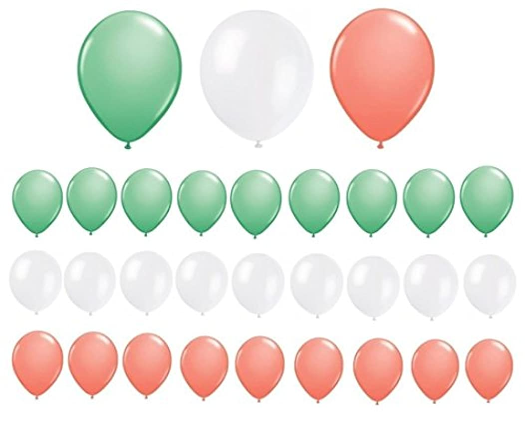 Sogorge Assorted 11'' Mint Green, Coral and White Latex Balloons (30 Count) SG1698