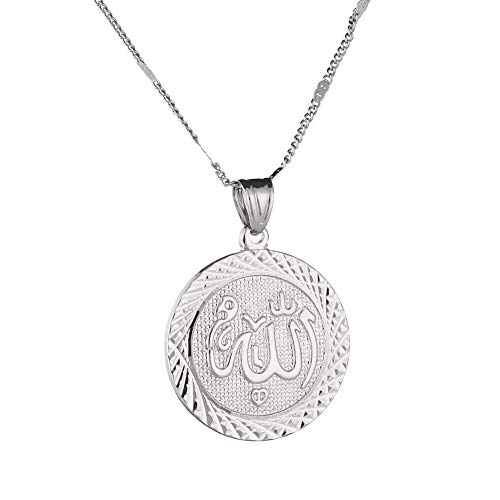 Plata, oro rosa, dos tonos, collar con colgante de Allah, eslabones redondos, cadena de moda, joyería, plateado