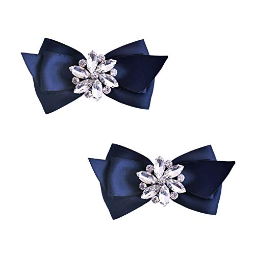 ElegantPark CQ Women Bow Shoe Clips Rhinestones Decorative Jewelry Wedding Party Accessories Decoration Navy Blue 2 Pcs