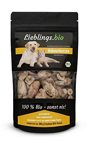 Lieblings.bio - Bio-Hühnerherzen für Hunde und Katzen, gefriergetrocknet, 50g