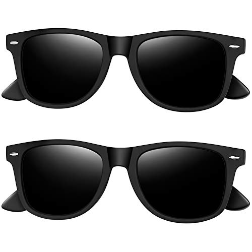 Joopin Polarized Sunglasses for Women Men, Retro Designer Sun Glasses (Matte Black+Matte Black)
