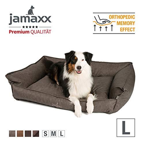 JAMAXX Premium Leder-Sofa Orthopädische Memory Visco Füllung, Hohe Seitenränder, Hunde-Couch mit Kunstleder Bezug, Reißverschluss, Hundebett PDB2019 (L) 120x90 grau