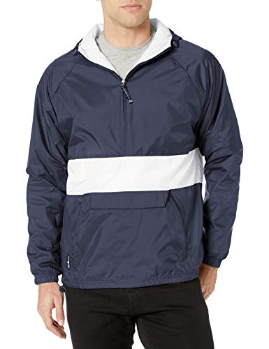 Charles River Apparel Classic Collection CRS Striped Nylon Pullover Jacket, Navy/White, Large
