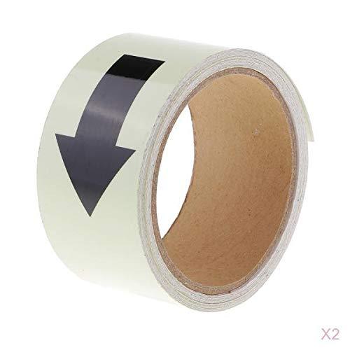 joyMerit 2pcs 5M Resplandor en La Cinta Adhesiva Oscura Autoadhesiva Luminosa Etiqueta de Seguridad 5CM