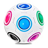 Vdealen Magic Rainbow Puzzle Ball, Speed Cube Ball Puzzle Game Fun Stress Reliever Magic Ball Brain Teaser Fidget Toys for Children Teens & Adults (White)
