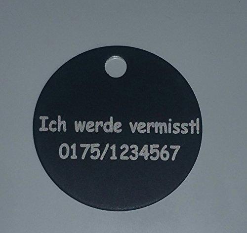 Gravierte Hundemarke rund schwarz 20mm (20mm) Halsbandanhänger Adressmarke