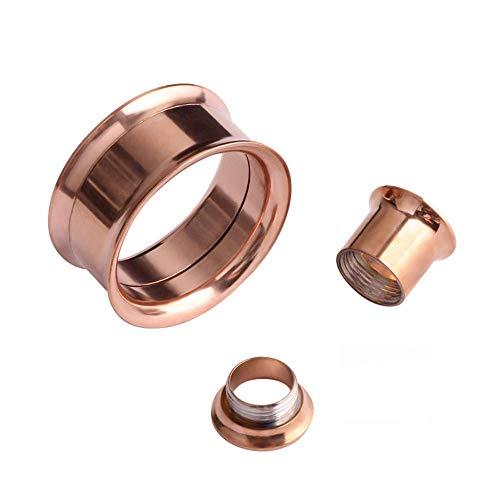 Ear expansor cuerpo piercing joyería doble destello hueco cuerpo piercings de moda de acero inoxidable tapón túnel joyería oreja medidor-Oro rosa_8mm.