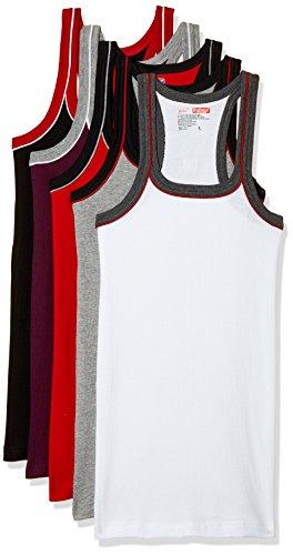 Dollar Bigboss Men's Cotton Vest (Pack of 5) (8902889484143_Bigboss Gym Vest-BB02_90_Red, Black, Charcoal Melange, White and Wine)