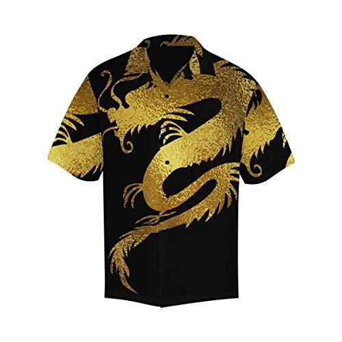 INTERESTPRINT Men's Casual Button Down Short Sleeve China Golden Dragon Hawaiian Shirt XXXXXL