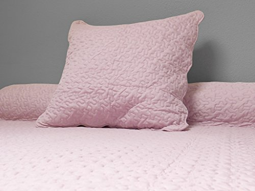 Soleil d'ocre 371004 Tagesdecke Uni rosa 180x220 cm + 1 Kissenbezug