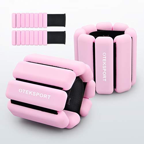OTEKSPORT Ankle &Wrist Weight Set 1 lb, Fully Adjustable Arm, Leg Weight for Women, Men, for Gym Fitness, Walking, Running, Yoga, Jogging, Pilates (Pink)