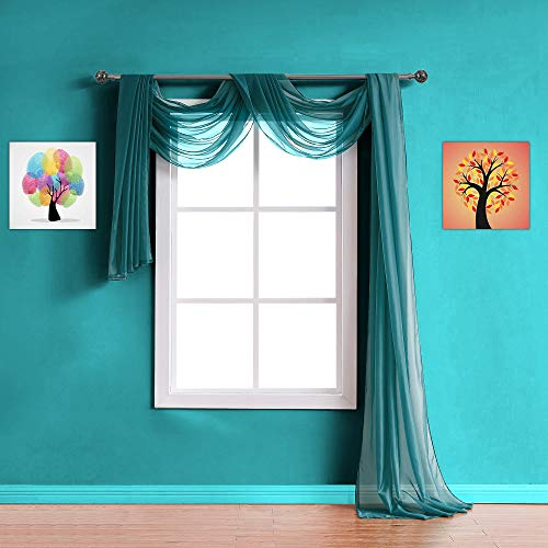Warm Home Designs Standard Length Green Teal Sheer Window Scarf. Valance Scarves are 56 X 144 Inches in Size. Great As Window Treatments, Bed Canopy Or for Decorative Project. AM Teal 144'